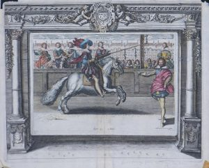 17c Dressage 1 engraving showing a man on ahorse with an instructor standing by.jpeg.