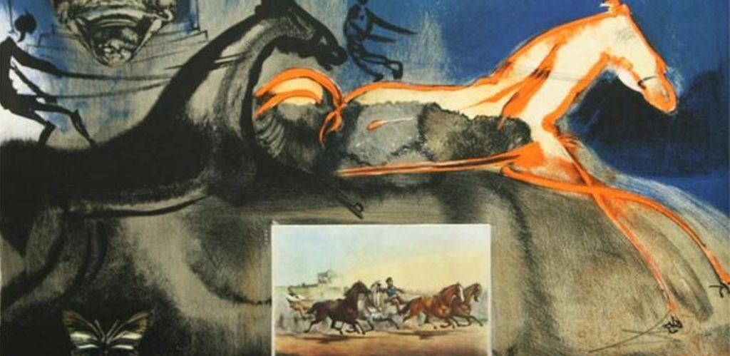 A Salvador Dali origianl lithograph for sale titled: American Trotting Horse No. 2
