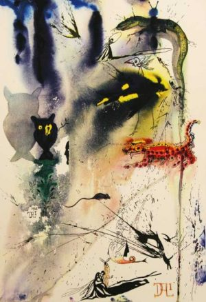 A Caucus Race And A Long Tale Alice in Wonderland original Salvador Dali