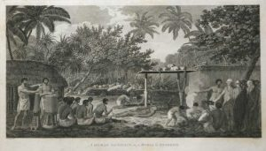 A Human Sacrifice in a Morai in Otaheite Tahiti James Cook final voyage 1784 engraving