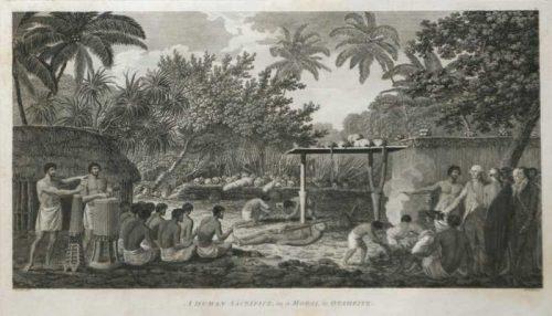A Human Sacrifice in a Morai in Otaheite Tahiti James Cook final voyage 1784 engraving