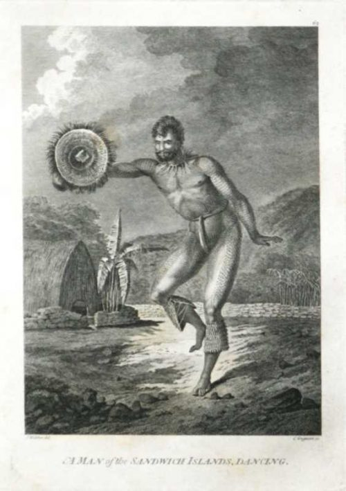 A Man of the Sandwich Islands Dancing Hawaii James Cook final voyage 1784 John Webber Artist