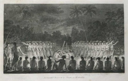 A Night Dance by Men in Hapaee Tahiti James Cook final Voyage 1784 John Webber Artist
