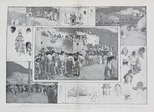 A Strange Mixture of Barbarism and Christianity Pueblo Indians Harpers Weekly 1892 Lithograph for sale