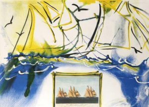 American Yachting Scene Salvador Dali Original Limited Edition Lithograph for sale