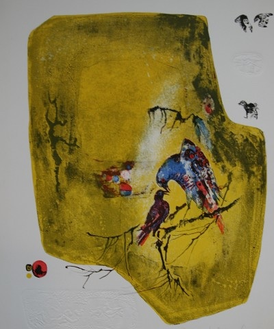 Birds on a Branch limited edition lithograph by Vietnamese artist Lebadang for sale