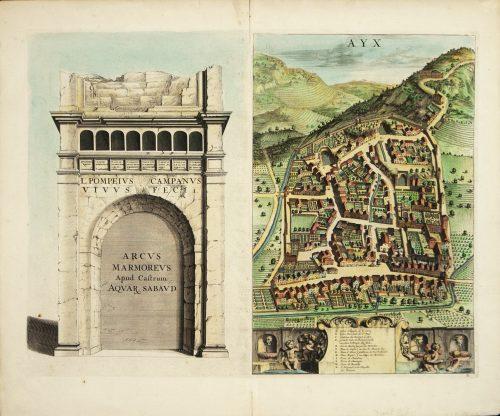 AYX Map of Aix en Provence, France by J. Blaeu 17th c.