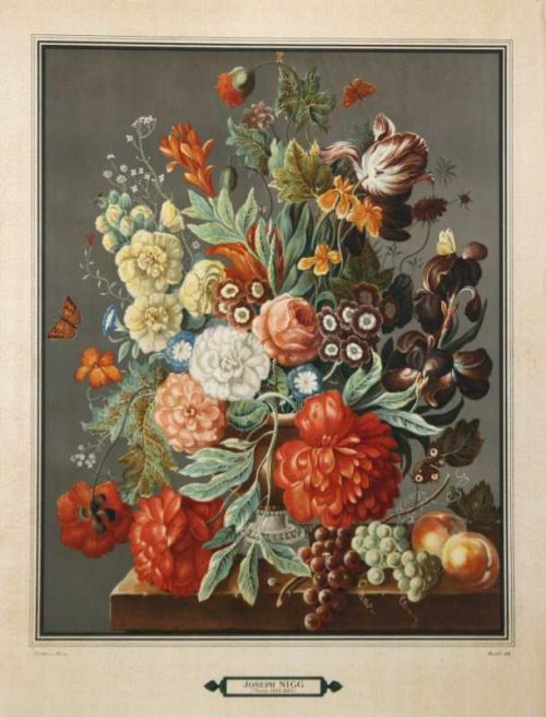"""Bouquet 1"" A Nigg, Joseph Lithograph. This Antique Botanical Print is For Sale."