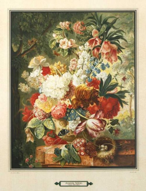 """Bouquet 3"" A Nigg, Joseph Lithograph. This Antique Botanical Print is For Sale"