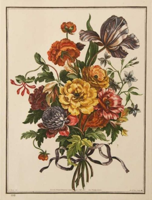 """Bouquet No. 26"" Tessier, Louis Etching. This Antique Botanical Print is For Sale"