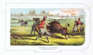 Buffalo Hunting on the Prairie chromolithograph for sale