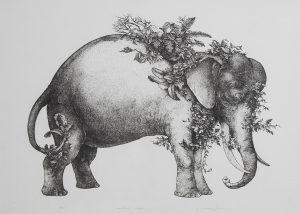 Camouflaged Elephant original lithopgraph