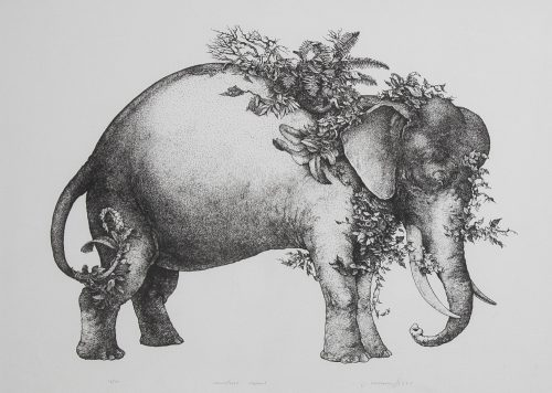Camouflaged -elephant-lithograph-by Washburn-for-sale.jpeg.