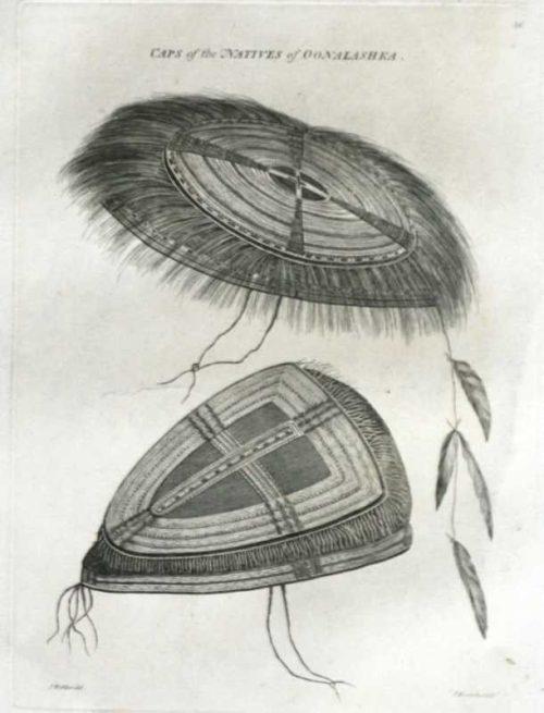 Caps of the Natives of Oonalashka Alaska James Cook Final Voyage 1784 engraving for sale