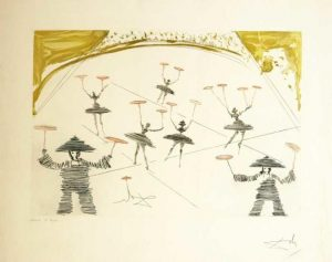 Chinois (Theatre Chinois) original etching by Salvador Dali Le Cirque Series