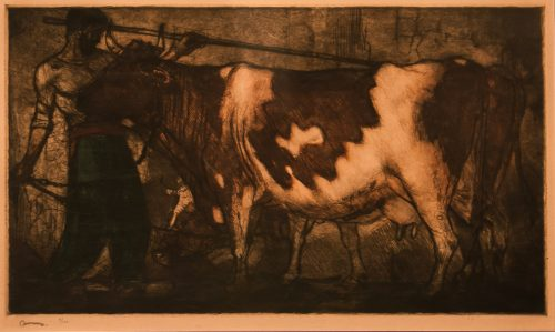 Le Vacher ( The Herdsman ) etching by Armand Coussens for sale