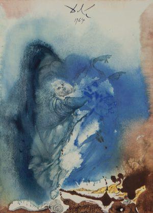 The Creation of Earthly and Sea animals Biblia Sacra Salvador Dali lithograph