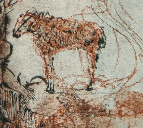 Dali Biblia Sacra The He-Goats of the Wild She-Goats detail 2