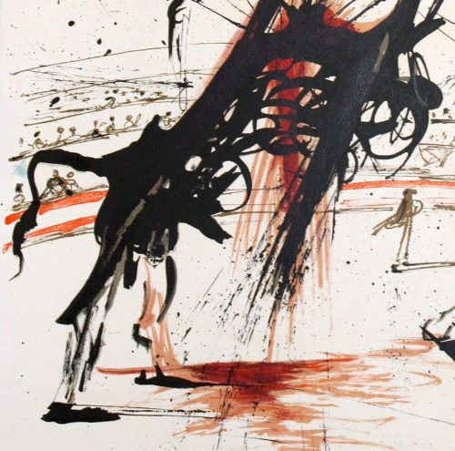 Dali Bullfight no. 5 original signed limited edition lithograpg by Salvador Dali detail 3. jpeg.