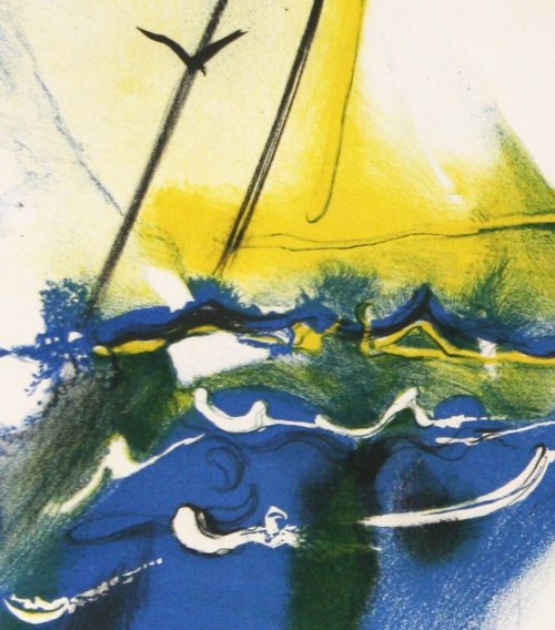 Amaerican Yacthing Scene Salvador Dali lithograph from currier & Ives Series detail 2. jpeg..