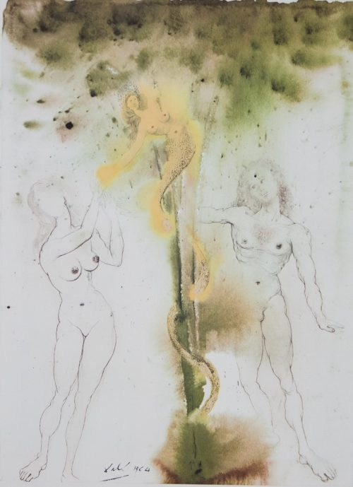 "Biblia Sacra "" Original Sin"" lithograph by Salvador Dali shows Adam and Eve being tempted by the snake that is wrapped around a tree and has a womans upper body and face.jpeg."