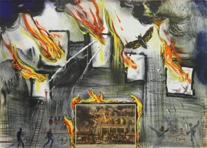 Fire,Fire, Fire original limited edition signed lithograph by Salvador Dali for sale