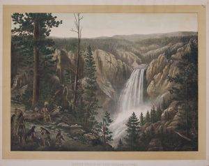 great falls of the yellow stone chromolithograph c1880