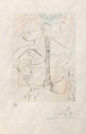 Henry VIII original color etching Salvador Dali