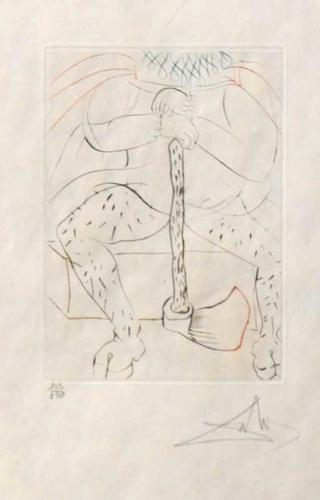 Henry VIII original color etching Salvador Dali