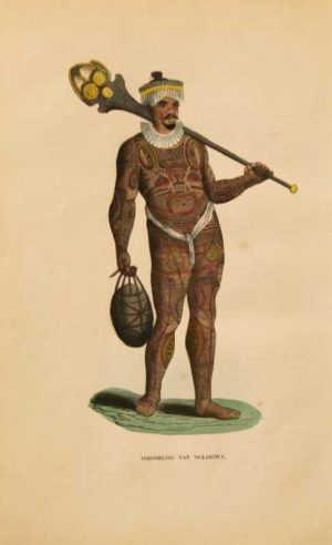 Inboorling Van Nukahiwa tatooed native hand colored lithograph for sale
