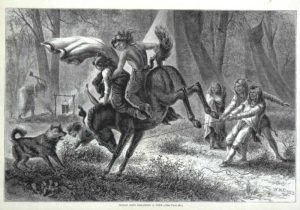 Indian Boys Breaking A Pony Harpers Weekly 1874 wood engraving