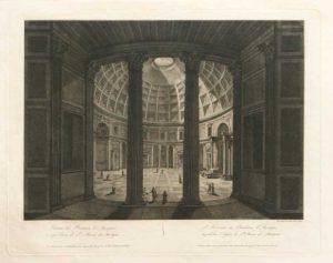 Interno del Panteon d'Agrippa in eggi Chiesa di St. Maria ad Martyres engraving