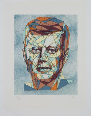 Kennedy portrait cubist original lithograph by Cemeli