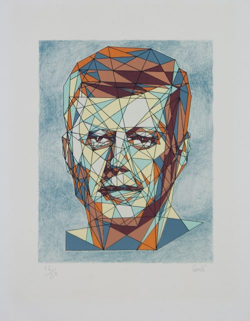 Kennedy portrait cubist original lithograph by Cemeli