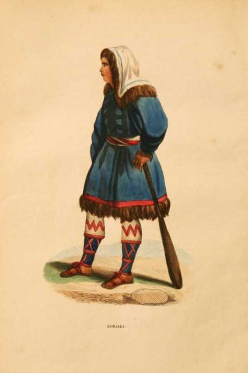 Korjake native woman traditional dress with paddle hand colored lithograph for sale