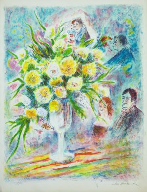 Wedding flowers original lithograph artist proof by Ira Moskowitz