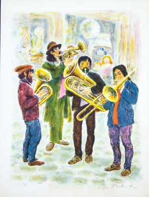 Street Musicians Ira Moskowitz original signed lithograph artists proof