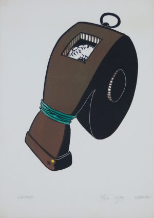 Whistle original linocut from George Nama's suite Tightrope 1974 for sale