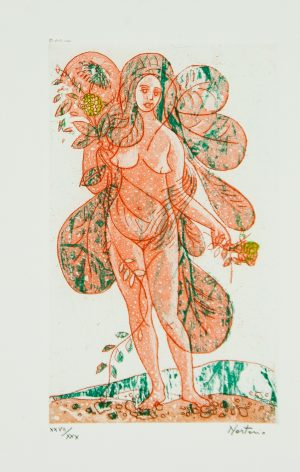 Leaves of Love -Orange Lady lithograph by Alessandro Nastasio