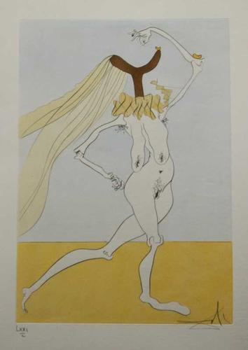 Nude With Veils Nu Aux Voilettes Salvador Dali original engraving