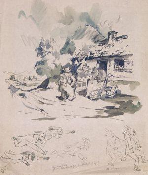 Otto Schbert Pen & ink Sketch for sale