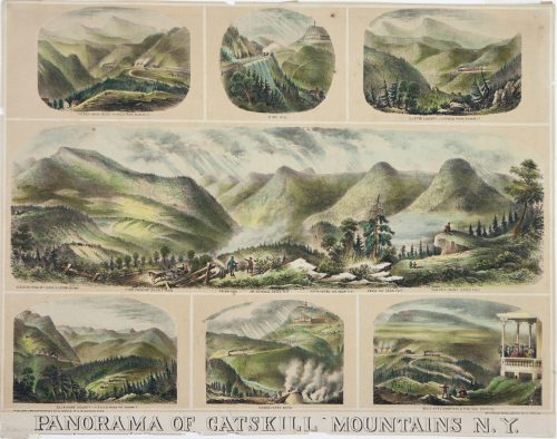 Panorama of Catskill Mountains hand colored lithograph 1870