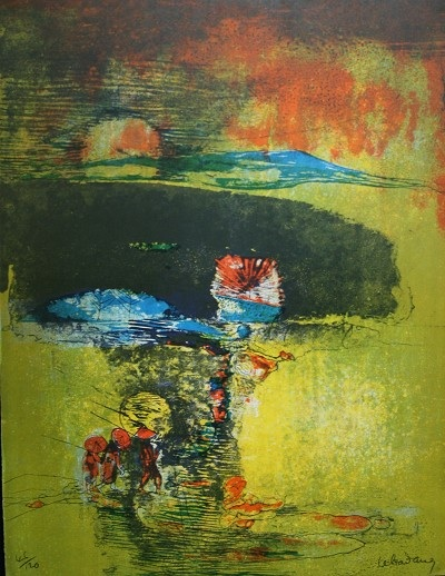 Paysage a La Jonque original limited edition lithograph Lebadang for sale