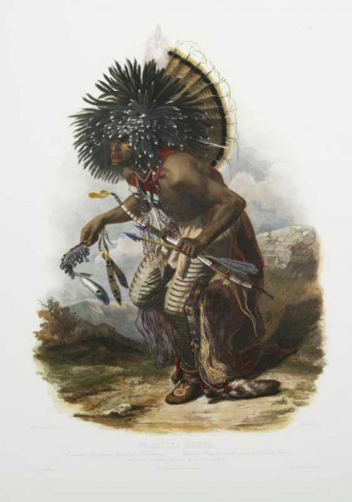Pehriska Ruhpa Moennitarri Warrior in the costume-of-the dog dance Karl Bodmer