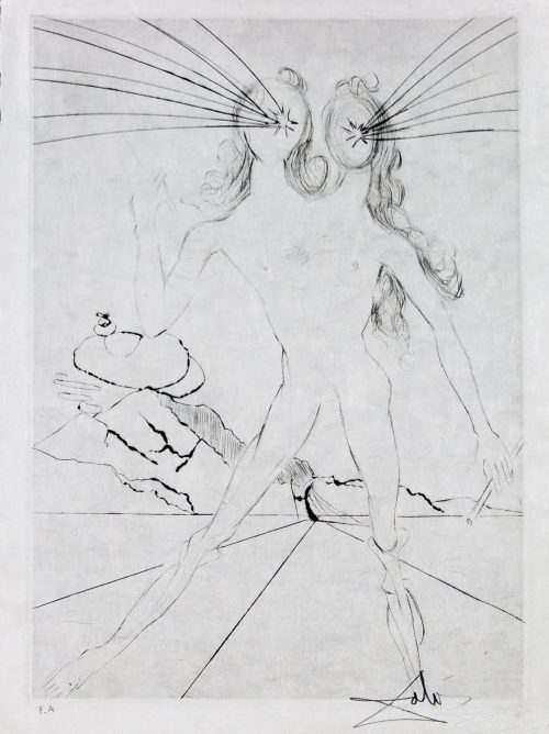 Ler Amours des Cassandre Bicephale by Salvador Dali etching for sale