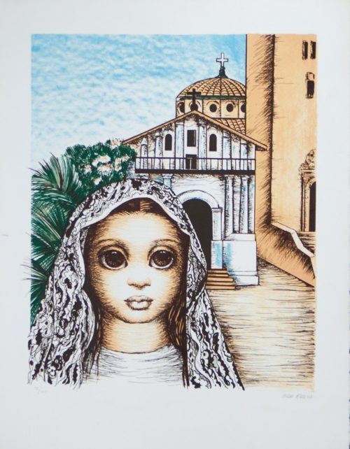 S.F.Girl with Mission Dolores original lithpograph by Margaret Keane