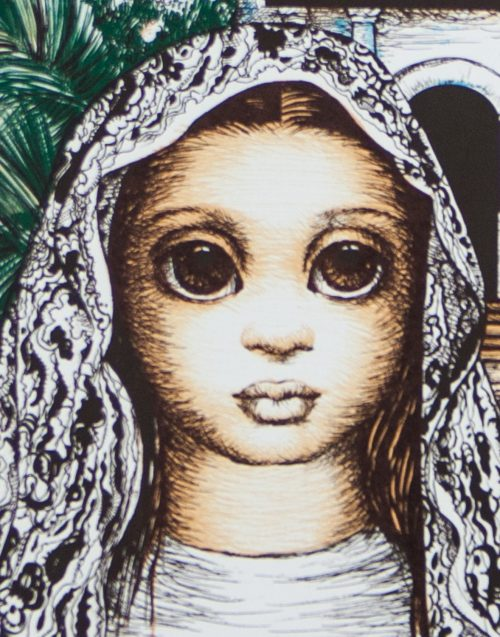 S.F.Girl with Mission Dolores original lithpograph by Margaret Keane detail 1