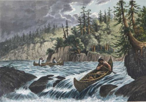 Shooting The Rapids Native-Americans Canoeing Framed wood Engraving for sale