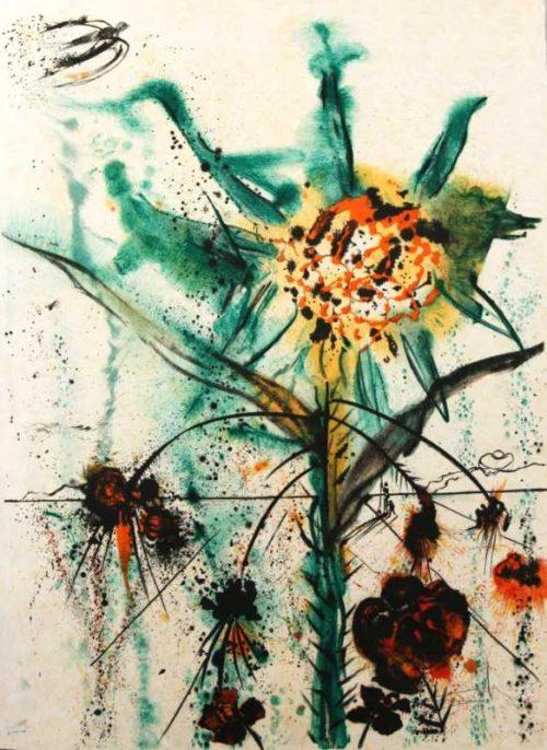 Sun Goddess Flower Salvador Dali Original signed limited edition Lithograph for sale