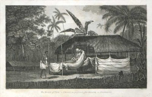 The Body of Tee a chief as preserved after death in Othaheite Tahiti James Cook final voyage 1784 engraving